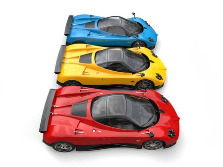 Red, yellow and blue awesome super cars - top side view