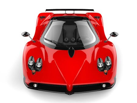 rose: Rose red concept super sports car - front view Stock Photo