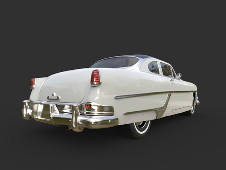 restored: Glorious vintage pearl white car - back view Stock Photo