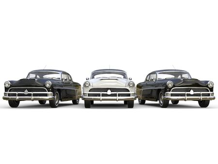 Majestic black and white awesome vintage cars Stock Photo