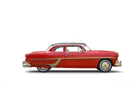 아름 다운 크림슨 레드 빈티지 자동차 - 측면보기