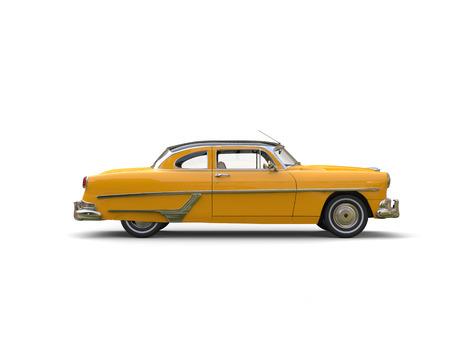 Pretty yellow vintage car - side view