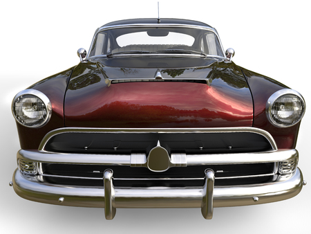 restored: Dark metallic red awesome vintage car - front view closeup shot