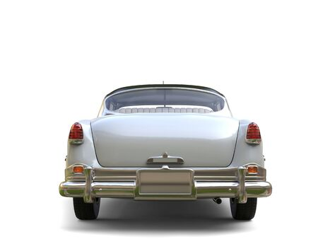 restored: Amazing vintage car - white paint - back view Stock Photo