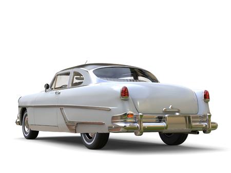 restored: Amazing vintage car - white paint - restored Stock Photo