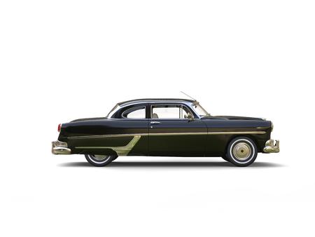 restored: Jet black restored vintage car - side view