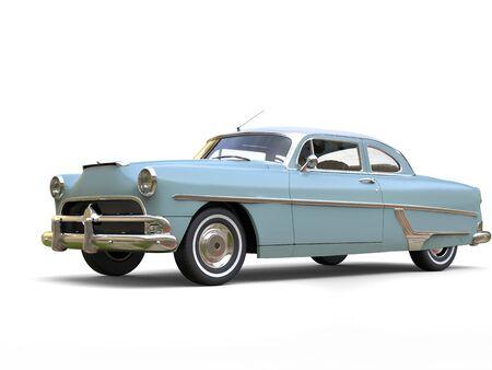 restored: Azure blue cool vintage car - beauty shot