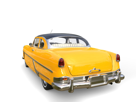 Beautiful old school yellow car with black roof - rear view