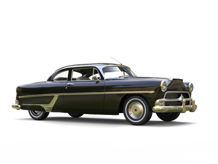 restored: Shiny black restored vintage car - beauty shot Stock Photo