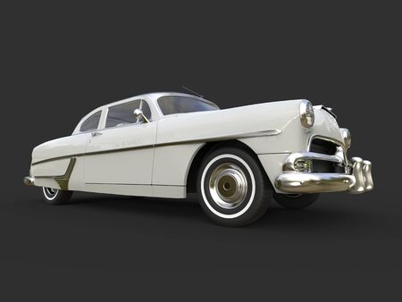 Glorious vintage pearl white car - low angle shot Stock Photo
