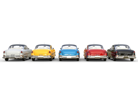 Magnificent vintage cars in different colors - back view Imagens