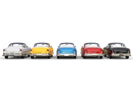 Prachtige vintage auto's in verschillende kleuren - achteraanzicht