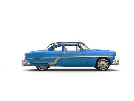 Royal blue vintage car - side view