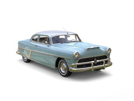 restored: Azure blue cool vintage car - restored