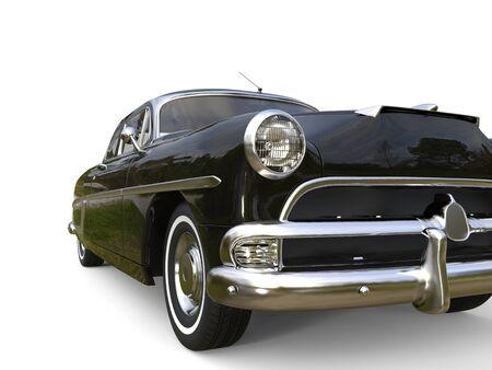 restored: Awesome black vintage car - headlight extreme closeup shot Stock Photo