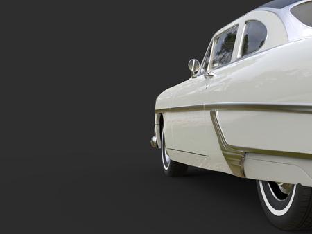 restored: Glorious vintage pearl white car - side door cut shot Stock Photo