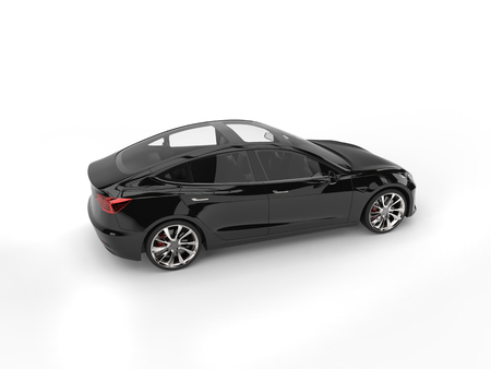 Modern electric family car - shiny black - glass roof Stock Photo