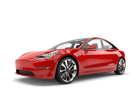 Moderne rode elektrische familieauto Stockfoto - 81144873