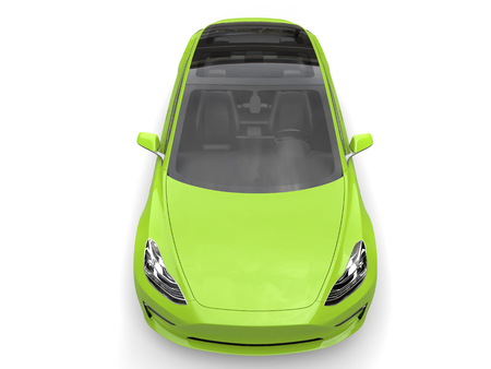 rim: Mad green electric business car - top down view