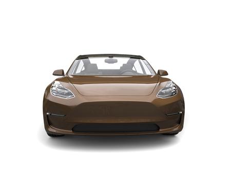 rim: Brown modern electric car - front view
