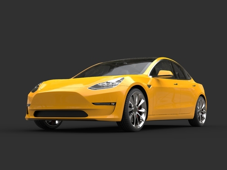 yellow car: Beautiful modern cadmium yellow electric car - beauty shot