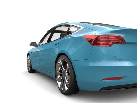 rim: Turquoise modern business electric car - taillight closeup shot