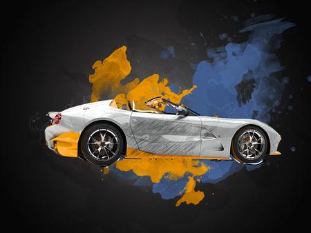 rim: Paint splash sports car illustration Stock Photo
