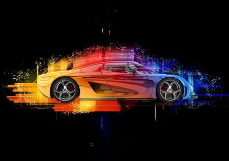 コンセプト スポーツ車 - カラフルな抽象的なイラスト