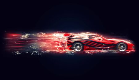 rim: Red concept sports car with black stripes - glow trails