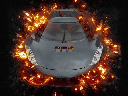 supercar: Flaming black futuristic supercar