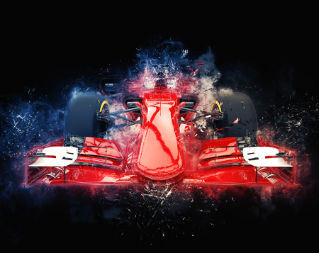 Red formula one car - modern trash style illustration