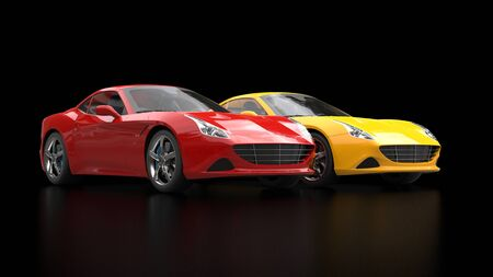 Sublime red and yellow super sports cars side by side - dark studio shot