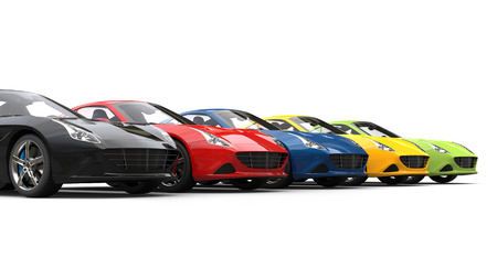 Spectacular sports cars in various colors