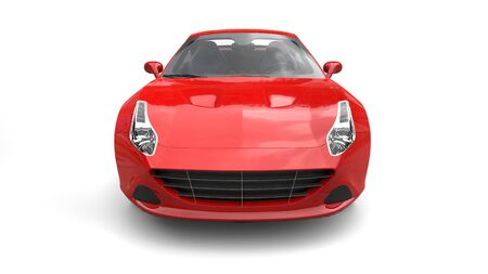 chrome: Rose red super sports car - front view