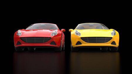 car speed: Sublime red and yellow super sports cars side by side