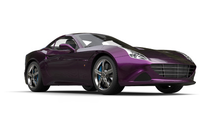 Amazing metallic purple luxury sports car - beauty studio shot