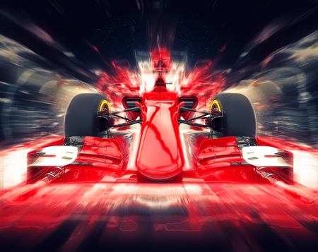 Red formula one car - colorful super zoom effect