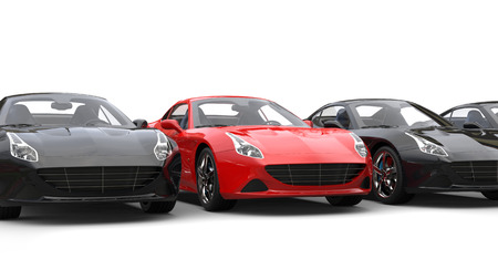 Striking red super sports car stands out Stock Photo