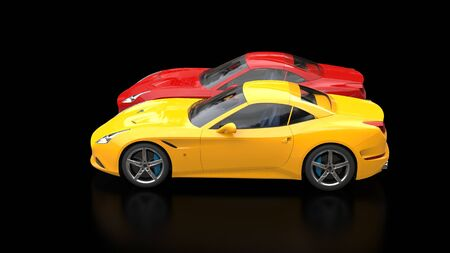 Sublime red and yellow super sports cars side by side - side view Stock Photo