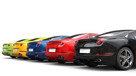 Awesome colorful sports cars in a row - tail view