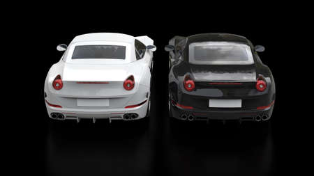 car speed: Cool black and white super sports cars - top back view