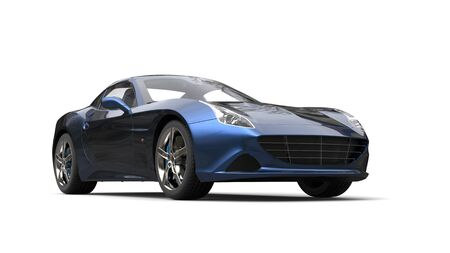 car speed: Dark metallic blue fast sports car - studio shot