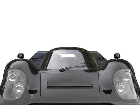 chrome: Charcoal black vintage race car - headlights and hood closeup shot