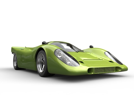 car speed: Metallic crazy green vintage race super car