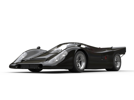 car speed: Charcoal black vintage race car - beauty shot