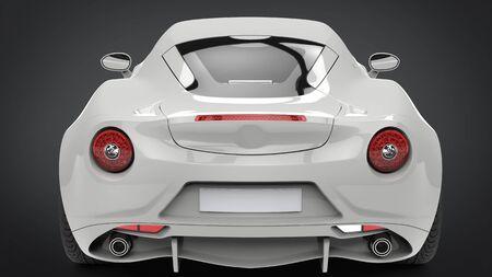 Sublime modern white super sports car - back view closeup shot