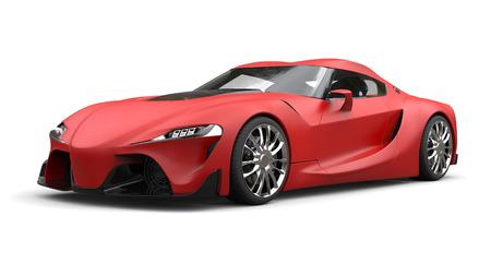 Raging matte red super sports car