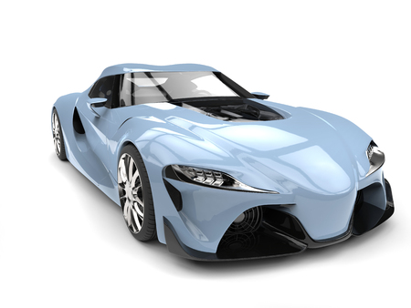 French sky blue modern super sports car - wide angle front view closeup shot