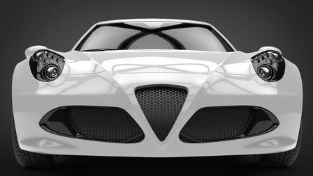 Sublime modern white super sports car - front view extreme closeup shot Stock Photo