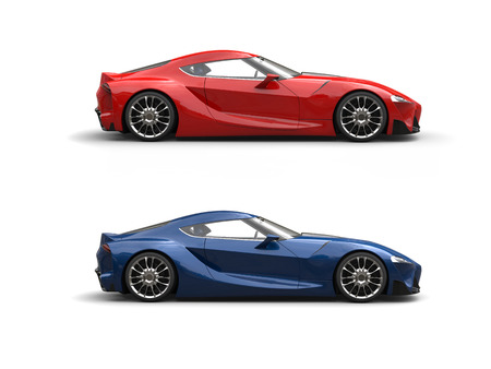 Modern super sports cars - red and blue